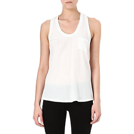 JOIE Alicia silk racer-back vest top (Porcelain