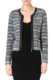 JOIE Jacolyn tweed and leather trim jacket