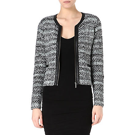 JOIE Jacolyn tweed and leather trim jacket (Caviar