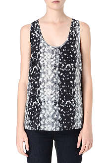 JOIE Snow leopard printed silk top