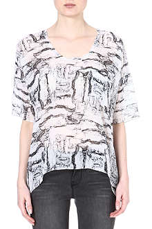 AMERICAN VINTAGE Abstract-print silk top