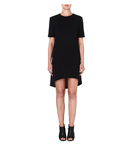 ENZA COSTA Curved-hem jersey dress (Black