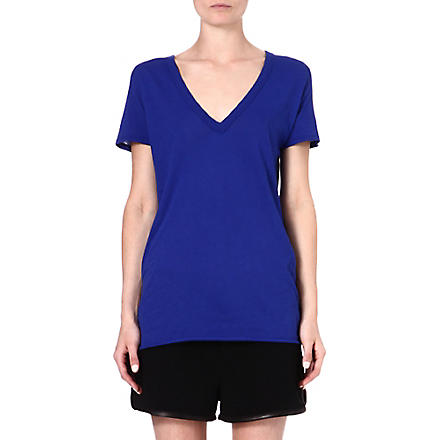ENZA COSTA V-neck cotton t-shirt (Baltic