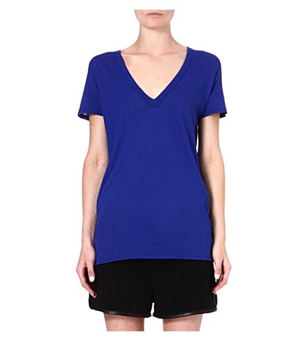 ENZA COSTA V-neck cotton t-shirt (Baltic