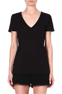 ENZA COSTA V-neck cotton t-shirt
