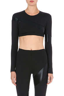 NORMA KAMALI Asymmetric metallic active top