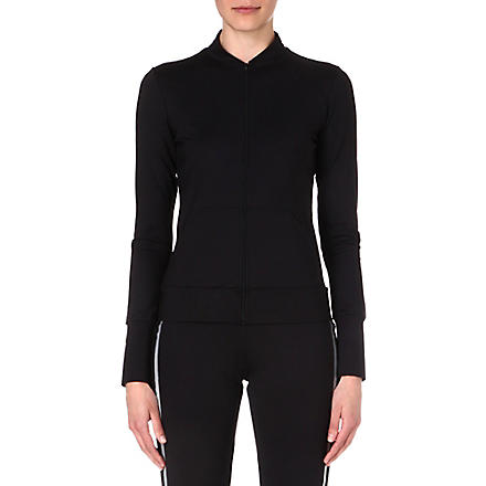 NORMA KAMALI Mesh-back zip-up top (Black