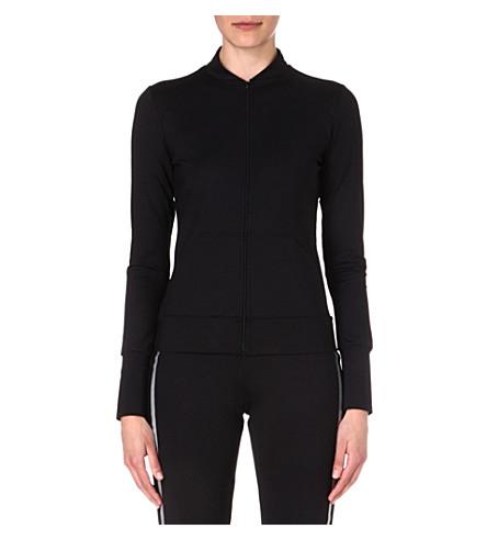 NORMA KAMALI Mesh-back zip-up top (Black