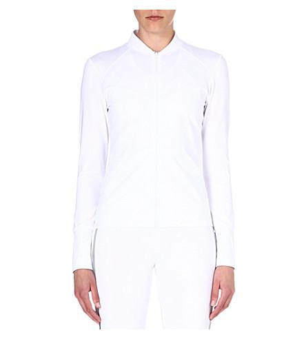 NORMA KAMALI Mesh-back zip-up top (White