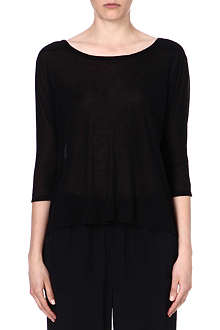 ENZA COSTA Pleated-back jersey top