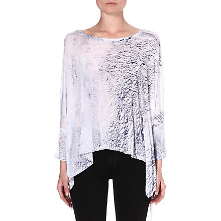 ENZA COSTA Printed jersey top (White/baltic
