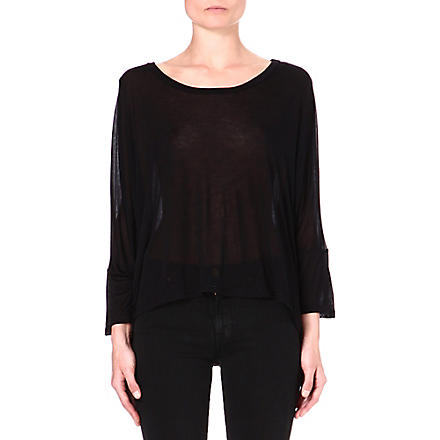 ENZA COSTA Oversized jersey top (Black