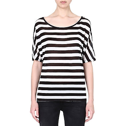 ENZA COSTA Striped jersey t-shirt (Black/white