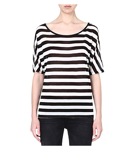 ENZA COSTA Striped jersey t-shirt (Black/white