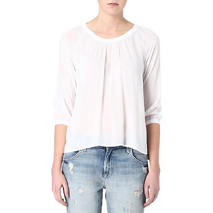 JAMES PERSE Gathered-neckline crepe top (White