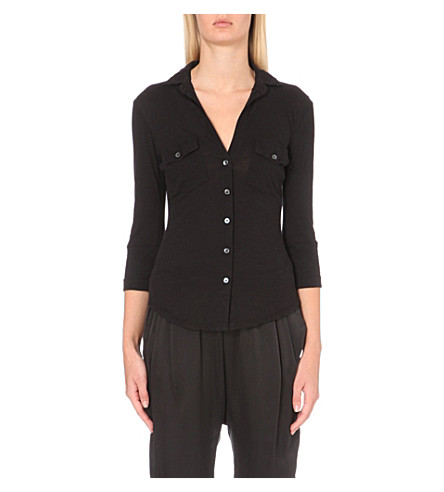 JAMES PERSE Button-up cotton-jersey shirt (Black
