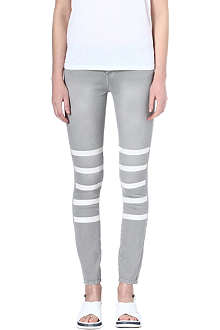 EACH X OTHER Mariner leather-stripe skinny mid-rise jeans