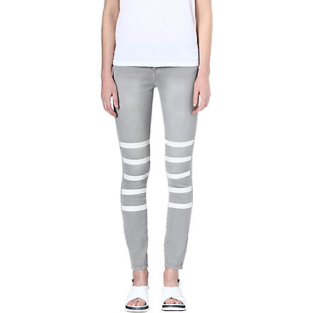 EACH X OTHER Mariner leather-stripe skinny mid-rise jeans (Grey/nude