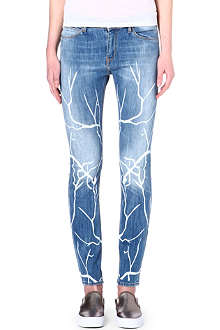 EACH X OTHER Branch-print slim-fit mid-rise jeans