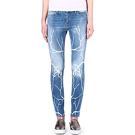 EACH X OTHER Branch-print slim-fit mid-rise jeans (Blue