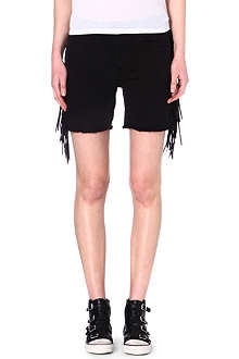 EACH X OTHER Shaman leather-fringe denim shorts