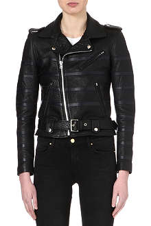 EACH X OTHER Striped leather biker jacket