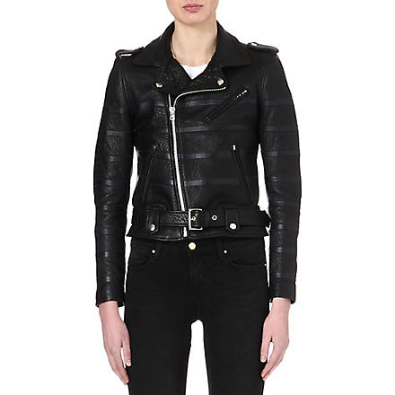 EACH X OTHER Striped leather biker jacket (Black/blue+stripes