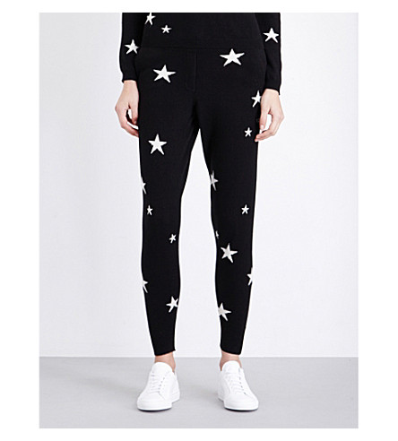 CHINTI AND PARKER Star-intarsia cashmere jogging bottoms (Black/cream+stars