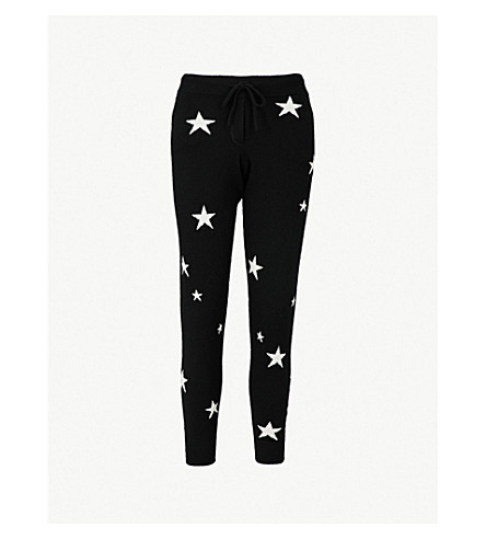 CHINTI AND PARKER Star-intarsia cashmere track pants (Black/cream
