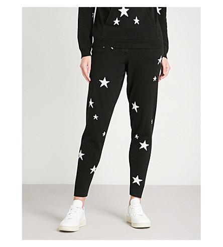 CHINTI AND PARKER Star-intarsia cashmere track pants (Black/cream