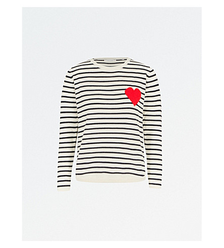 CHINTI AND PARKER Breton Heart-intarsia cashmere jumper (Cream/navy/red