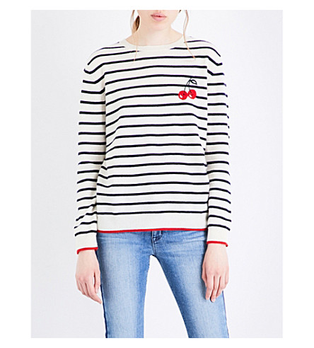 CHINTI AND PARKER Cherry Breton cashmere jumper (Cream/multi