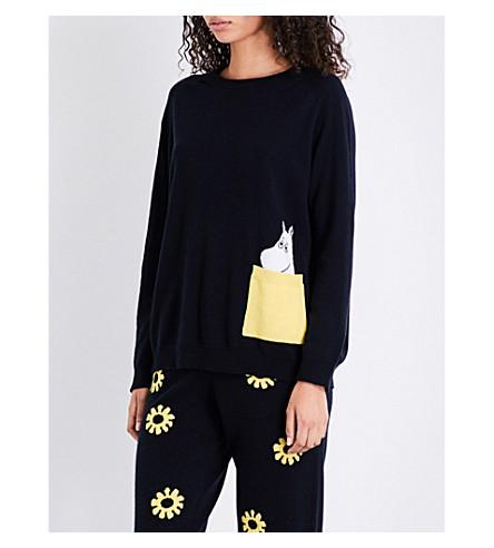 CHINTI & PARKER X MOOMINS Peek Pocket cashmere jumper (Navy/yellow