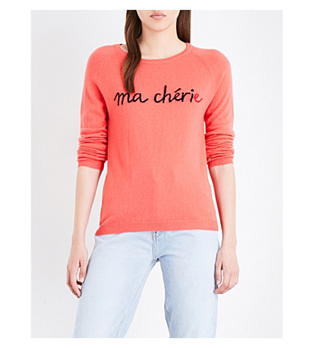 CHINTI AND PARKER Ma Chérie cashmere jumper (Coral/black/cherry