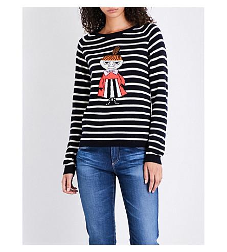 CHINTI & PARKER X MOOMINS Little My breton striped cashmere jumper (Navy/cream