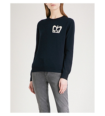 CHINTI AND PARKER Crown-intarsia cashmere jumper (Navy