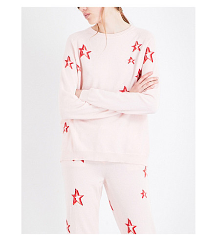 CHINTI AND PARKER 3D Star cashmere sweater (Blush/cherry/coral