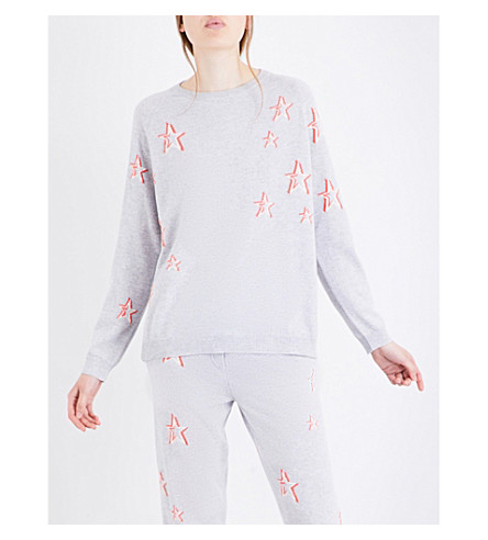 CHINTI AND PARKER 3D Star cashmere jumper (Silver marl/cream/coral