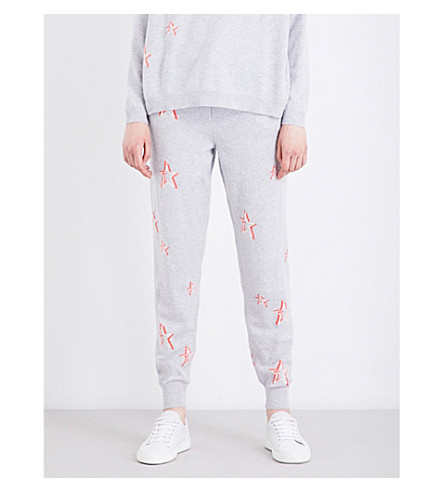 CHINTI AND PARKER 3D Star cashmere track pants (Silver+marl/cream/coral