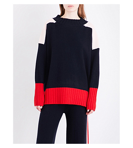 CHINTI AND PARKER Comfort cashmere jumper (Navy/rose/cherry