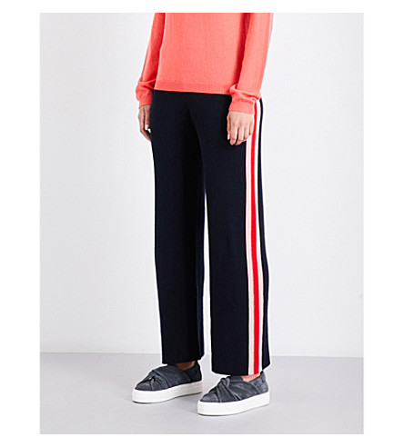 CHINTI AND PARKER Stripe-intarsia straight cashmere jogging bottoms (Navy/rose/cherry