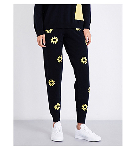 CHINTI & PARKER X MOOMINS Daisy-patterned cashmere jogging bottoms (Navy/yellow/black