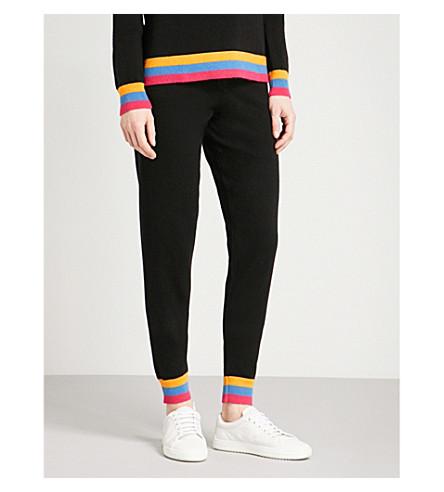 CHINTI AND PARKER Stripe-trim cashmere jogging bottoms (Black/multi