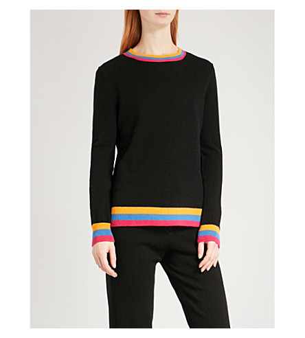 CHINTI AND PARKER Stripe-trim cashmere jumper (Black/multi