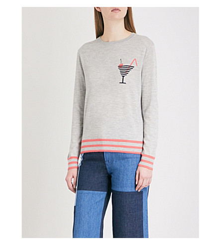 CHINTI AND PARKER Cocktail motif cashmere jumper (Silver/marl+multi