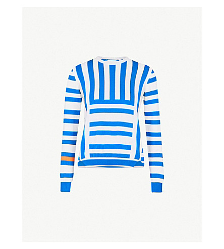 CHINTI AND PARKER Frida striped cashmere jumper (Royal+blue