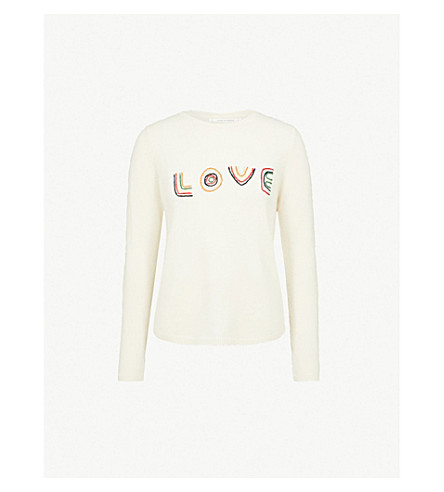 CHINTI AND PARKER Love embroidered cashmere and wool-blend jumper (Cream