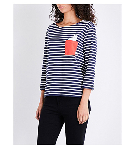 CHINTI & PARKER X MOOMINS Pocket cotton-jersey T-shirt (Navy/ivory/red