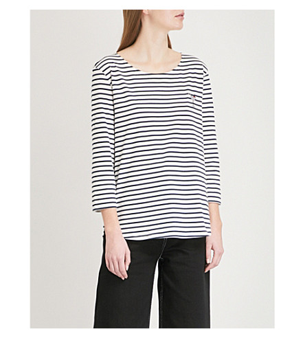 CHINTI AND PARKER Cocktail motif striped cotton top (Ecru/navy