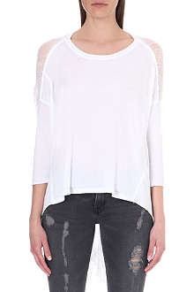 RAQUEL ALLEGRA Shredded-detail jersey top